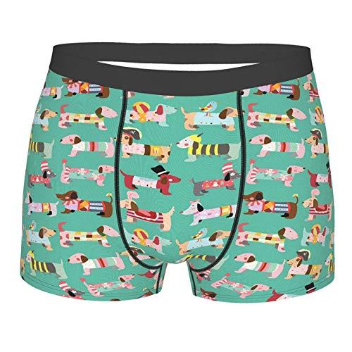 Judascepeda Männerunterwäsche,Hundeliebhaber Abstract Dress Up Print, Boxershorts Atmungsaktive Komfortunterhose Größe S