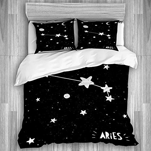 NOLOVVHA Decorative Duvet Cover Set,Aries Sign Hand Drawn Zodiac Black Grungy Stars and Moon Childish Starry Night Sky Planets,Microfibre 230x220 with 2 Pillowcase 50x80,King