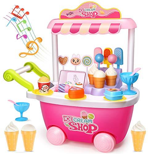 GeyiieTOYS Eiswagen Kinder Trolley Eiswagen Spielzeug mit Sound und Licht Lebensmittel Rollenspiel Pretend Toys (Rosa) für 2 3 4 5 6 jährige Mädchen Jungen