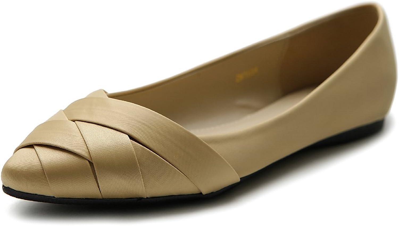 Ollio Women's shoes Ballet Weave Pointed Toe Dress Flat