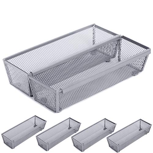 Smart Design Drawer Organizer - (9 x 3 Inch) - Steel Metal Mesh - w/Interlocking Arm Connection - Utensils, Flatware, Organization - Kitchen [Silver] - Set of 6