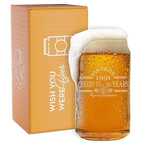 30th Birthday Gifts for Him - Vintage 1991 Beer Can Glass- Engraved-Vintage-Cheers-Aged To Perfection-Birthday Gift-Etched Beer Glass-Barware (1991 30th Vintage)