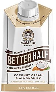 Califia Farms Better Half Coffee Creamer, Coconut Cream and Almondmilk, Half & Half, Dairy Free, Whole30, Keto, Vegan, Plant Milk, Non-GMO, Unsweetened, 16.9 Fl Oz (Pack of 6)