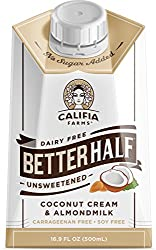 Califia Farms Unsweetened Better Half Coffee Creamer, 16.9 Oz | Coconut Cream and Almondmilk | Half