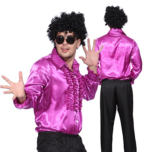 Anladia Herren Kostüm Disco Shirt Satin Disco Schlager Star Kostüm Rüschenhemd Herrenmode Prost