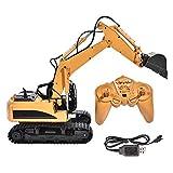 Camión excavador eléctrico de juguete con control remoto, excavadora de juguete simulada, gran relación 1/14, camión de excavación de juguete de...