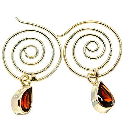 Ana Silver Co Garnet Earrings 1 1/4' (925 Sterling Silver)