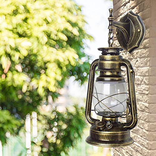 Retro Industrial Außen Laterne YUNRUX Deckenleuchte Antike Wandleuchte Wand-Lampe Vintage Wandbeleuchtung Außenwandleuchte Laterne Patio Beleuchtung Innen Gebogenenlampe Wandlicht Licht Bronze