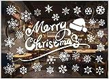 geneic Adesivi natalizi per finestre, decorazioni natalizie, decorazioni natalizie, decorazioni natalizie, renna e fiocco di neve, adesivi da parete rimovibili, decorazioni per porte e finestre