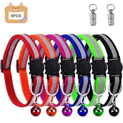 Winline Katzenhalsband,Katzenhalsbänder mit Glocke, reflektierend, individuell einstellbar, fluoreszierend mit Schnellverschluss/Sicherheitsschnalle, geeignet für die meisten Hauskatzen (6pcs)
