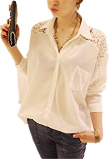 Women's Casual Long Sleeve T-Shirt Round Neck Hollow Out Blouse Tops