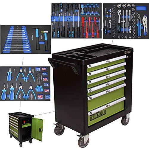 TrutzHolm® Werkstattwagen Profi XL bestückt gefüllt 6 Schubladen mobiler Werkzeugwagen