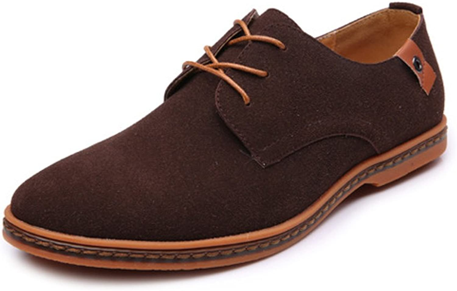 shoes Men's Casual Loafers shoes Lace Up Oxfords Microfiber Leather Upper Large Size Leather shoes (color   Coffee, Size   10.5 UK)