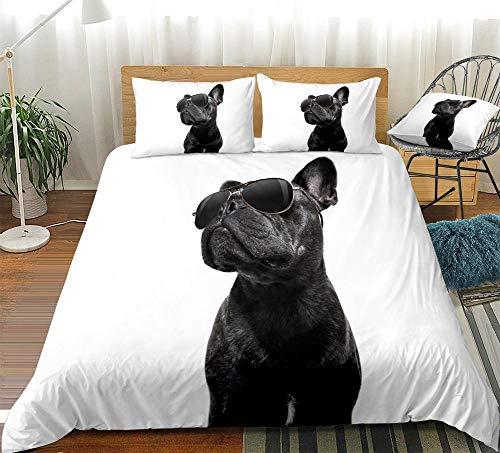 Prinbag Juego de Funda nórdica 3D para Perro Negro Bulldog con Gafas de Sol Textiles para el hogar Funda de edredón Blanco Ropa de Cama para Mascotas de Animales Frescos 135x200cm