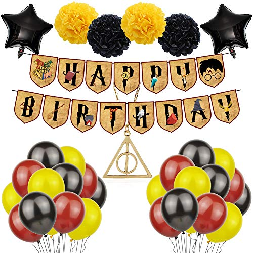 Artículos de Fiesta para Wizard Inspired, 38pcs Wizard Balloons Suministros Magical Wizard School Party Decoraciones,Estandarte de Cumpleaños,Harry Potter Inspired Globo de látex
