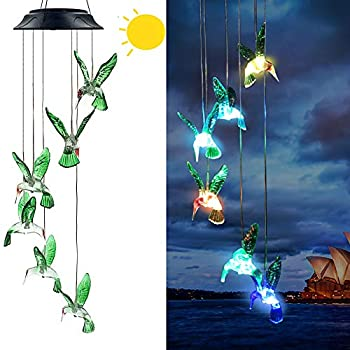 Hummingbird Solar Wind Chimes,Gifts for Mom Women Grandma ,Colour Changing Solar Night Lights for Garden Yard Lawn Patio Porch Window Outdoor Decorations
