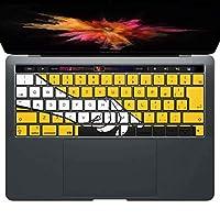 igsticker MacBook PRO 15inch 2016 ~ 専用 キーボード用スキンシール キートップ ステッカー A1990 A1707 Apple マックブック エア ノートパソコン アクセサリー 保護 013324 手 イラスト 黄色