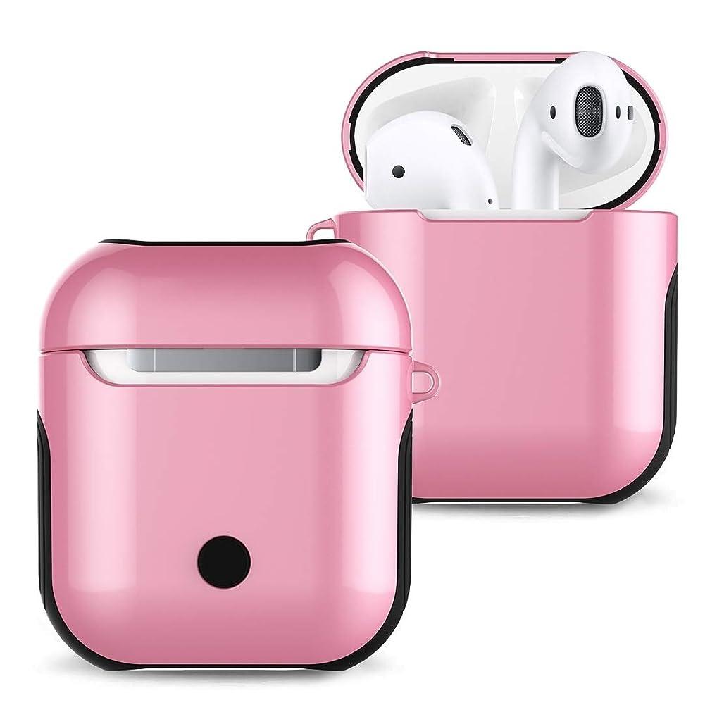 マオリ解凍する、雪解け、霜解けオープナーJIANGNIJPイヤホン保護ケース Apple AirPods 1/2用ニス塗装済みPCブルートゥースイヤホンケースAntilost収納バッグ1/2 (色 : ピンク)