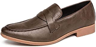 Shhdd Simple man loafers shoes for classic business Oxford, the on-style PU upper and is Pointed Toe square color weakening napus party sewed slip slip (Color : Brown, Size : 41 EU)