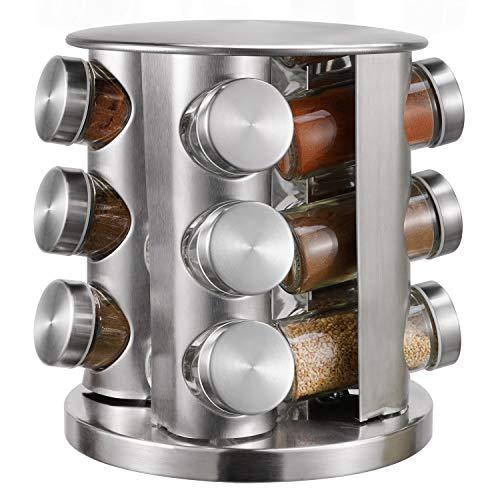 Gewürzregal mit 12 Gewürzgläsern, drehbare Arbeitsplatte, Kräuter- und Gewürzhalter, Organizer mit 12 leeren Gewürzgläsern, großer Standschrank, Gewürzturm für Küche