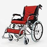 Yeeseu Silla médica de rehabilitación, sillas de ruedas, silla de ruedas plegable de peso ligero de conducción médica, Silla de ruedas plegable portátil de la carretilla, de edad avanzada con silla de
