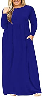 Women's Plus Size Tunic Swing T-Shirt Dress Long Sleeve Maxi Dress with Pockets