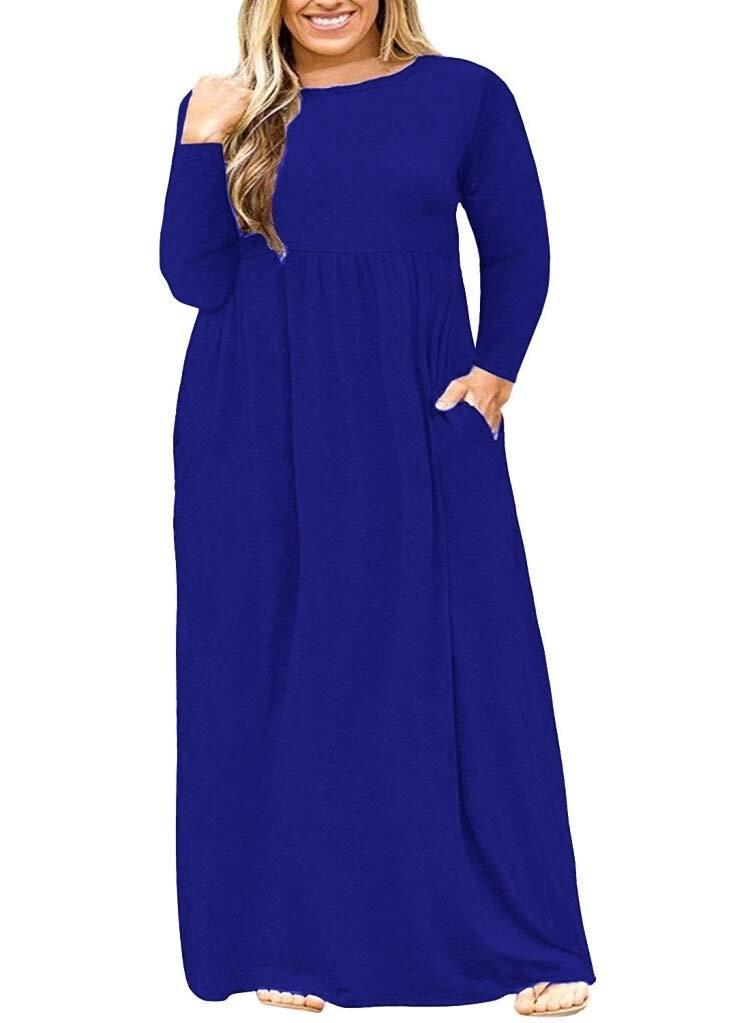 Available at Amazon: POSESHE Women's Plus Size Tunic Swing T-Shirt Dress Long Sleeve Maxi Dress with Pockets
