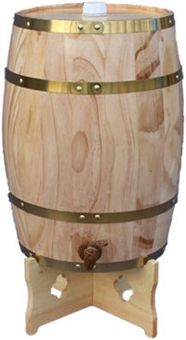 MAGFYLY Barril de Vino de Madera Cubo de Envejecimiento de Roble de 5L, Dispensador de Barril de Whisky con Soporte para Almacenar Sus Licores de Cerveza de Whisky de Vino Favoritos