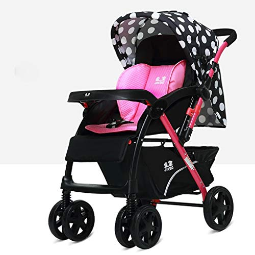 Review LIUCS Strollers High Landscape Can Sit Reclining Folding Shock Two-Way Four-Wheel Stroller (r...