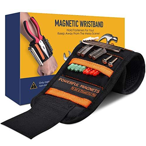 Magnetisches Armband Werkzeug, Handwerker Magnetarmband mit 15 Starken Magneten zum Halten von Schrauben/Nägeln/Bohrern, Bestes Geschenk für Männer/Papa/Ehemann/Heimwerker/Gadgets