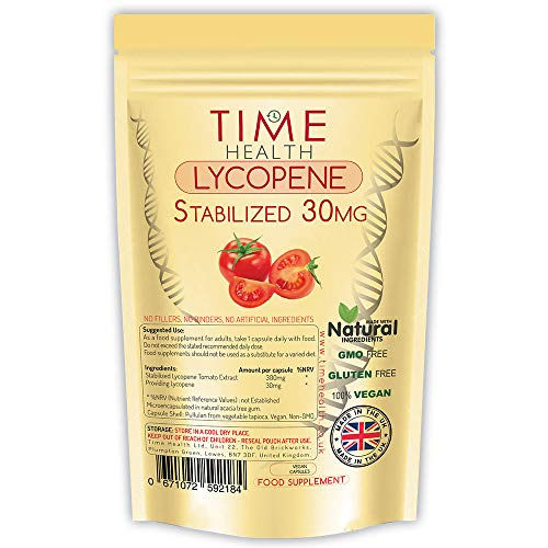 Lycopin – 30 mg pro Kapsel – Stabilisierte, mikroverkapselte Formel – Tomatenextrakt – Vegan – Ohne Zusätz (60 Kapseln pro Beutel)