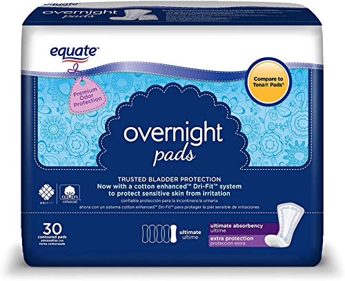 Equate Overnight Incontinence Pads for Women, Ultimate, 30 Ct - 5 PACK