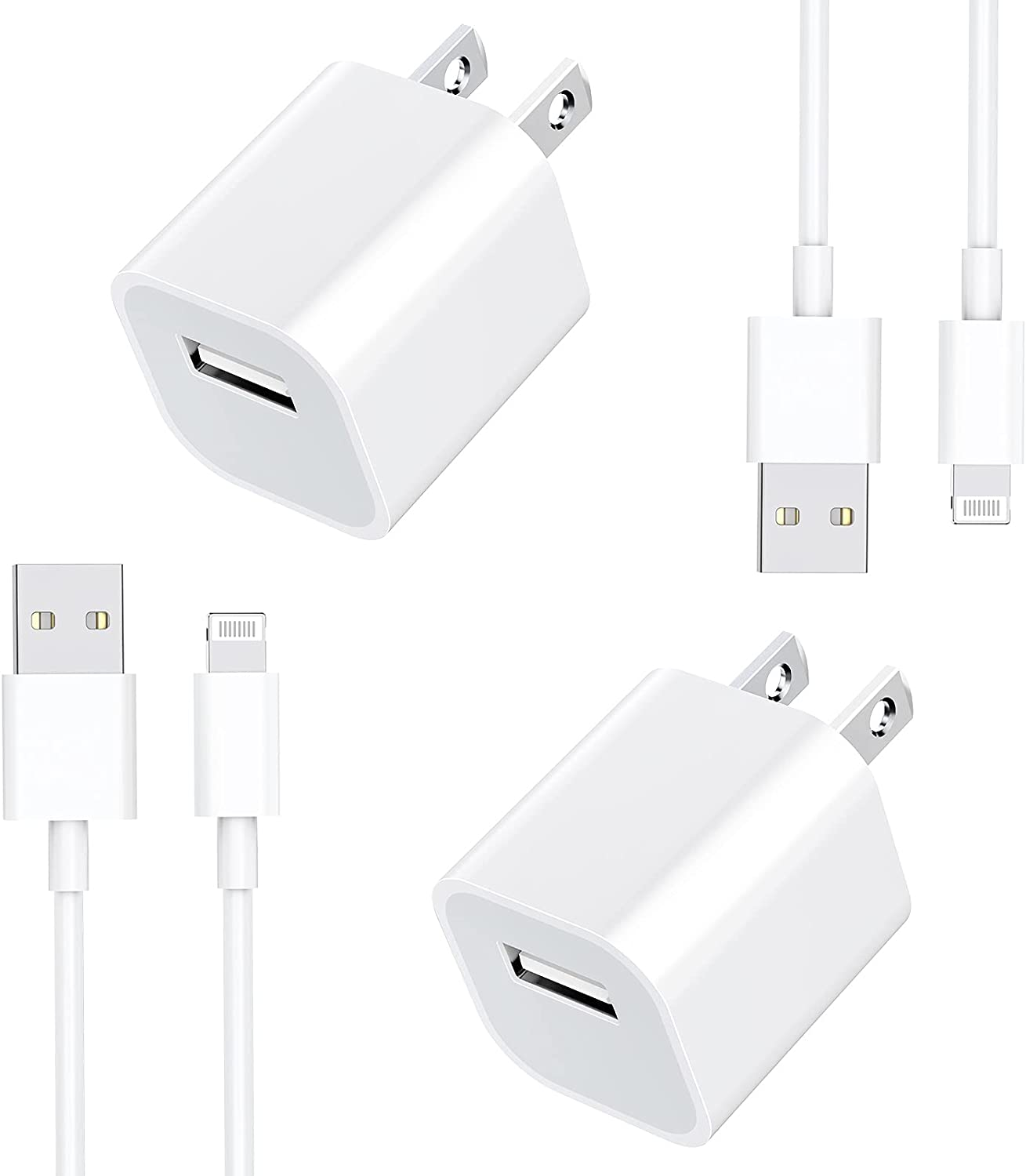 [Apple MFi Certified] iPhone Fast Charger, GEONAV 2 Pack 3FT Lightning to USB Quick Charging Data Sync Transfer Cable with USB Power Rapid Wall Charger Travel Plug Compatible for iPhone/iPad/AirPods
