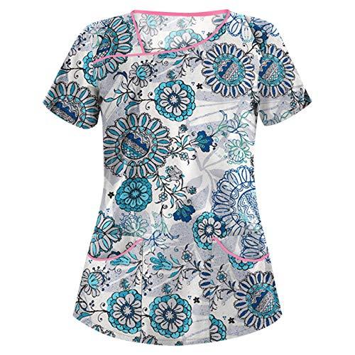 Camisetas de Primavera/Verano para Mujer, Botones de Cuello Redondo, Talla Grande, Camiseta Informal con Estampado de Personalidad de Moda Larga5X-Large