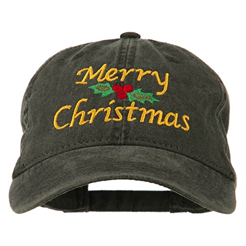 e4Hats.com Merry Christmas Mistletoe Embroidered Washed Dyed Cap - Black OSFM
