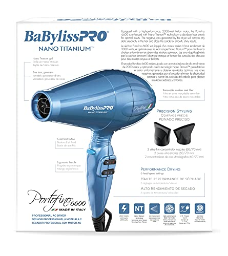 BaBylissPRO BNTB6610 Nano Titanium Portofino Full-Size Dryer, Blue