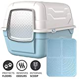 CatCentreⓇ Blue Hooded Large Litter Box Scoop Filter & Blue Mat Covered Tray