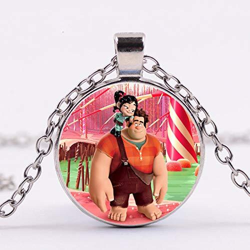 Arrvial Breaks The Internet Wreck-It Ralph Halskette mit Filmschmuck, rund, Glasbild, Cabochon-Spielzeug, Anhänger, Geschenk für Fans