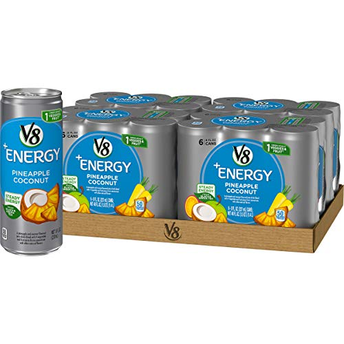 V8 +Energy Healthy Energy Drink, Natural Energy from Tea, Pineapple Coconut, 8 Oz Can (4 Packs of 6, Total of 24)