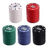 Tomaibaby Poker Chips Set de 100 piezas Póker Rueda Casino Chips Contador con Valor Colorido Juego de chips para el aprendizaje de matemáticas, Diversión Party Favor