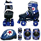 Sk8 Zone By Eurotrade Boys' HW218851 Blue Black, Sk8 Zone Quad Kids Roller Boots Safety Pads Helmet Childrens...