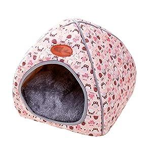 TianBin Moda Plegable Nido de Mascotas Otoño e Invierno Cerrado Perrera Hay un Arco en Top (Rosa, XL)