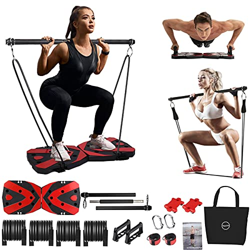 Portable Home Gym Workout Equipment with 12 Exercise Accessories Including Heavy Resistance Bands Abs Workout Push-up Stand Tricep Bar Pilates Bar and More for Full Body Workouts System Men Women