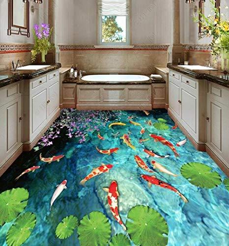 Tapete Vinylboden Wasserdicht Benutzerdefinierter Bodenstrom Wasserteich Karpfen 3d Vinylboden Badezimmer Schlafzimmer-200 cm * 140 cm