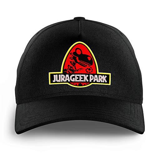 OKIWOKI Yoshi - Jurassic Park Lustiges Schwarz Kinder Kappe - Yoshi VS Jurassic Park (Yoshi - Jurassic Park Parodie signiert Hochwertiges Kappe - Einheitsgröße - Ref : 431)