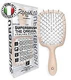 Janeke Superbrush Detangler Brush Anti-static Hairbrush Easy For Wet or Dry Use Flexible with Nylon Bristle Great for All Hair Types - Long Thick Curly -The Original Italian Patent (Sand)