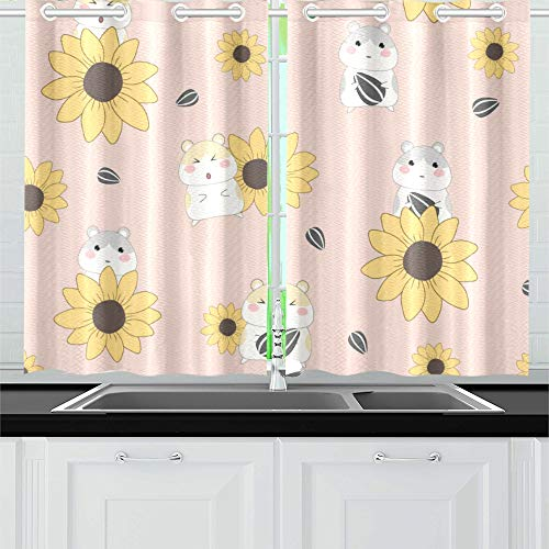 """Kitchen Curtains Pattern Cute Hamster Sunflower On Window Drapes 2 Panel Set for Kitchen Cafe Decor, 52"""" X 39"""", Best Window Curtains"""