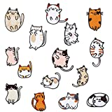 Excelart - 15 parches bordados para gato, diseño de gato, diseño de animales, para coser en parches, manualidades, costura, fabricación