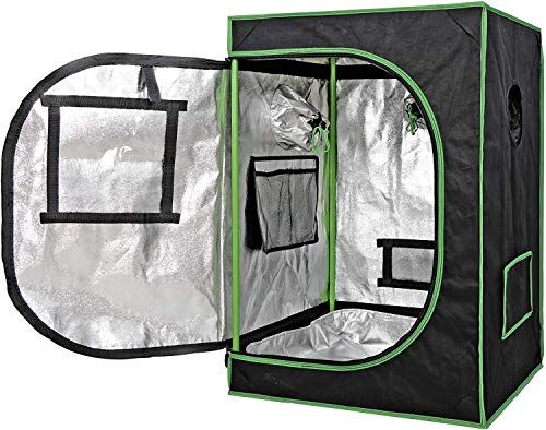 PYXZQW Indoor Grow Tent Hydroponic Plant Growing Room,24'X24'X36' Reflective Thick Mylar Fabric Grow Room Box for Plant,Black