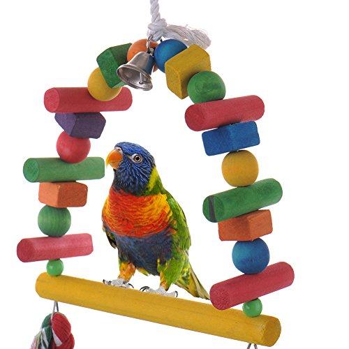 Oiseaux en bois balançoire Jouets support Perchoir pour les perroquets Amazones Perroquet cacatoès perruche calopsitte perruche Gris du Gabon Finch Cage
